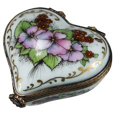 Limoges Romance Peint Main Heart Trinket Box Flowers Gold Signed Numbered Limoges Trinket