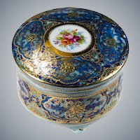 Occupied Japan Hand Painted Gold Leaf Porcelain Casket Trinket Box