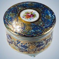 Occupied Japan Hand Painted Gold Leaf Porcelain Casket Trinket Box