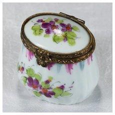 Limoges Trinket Box Signed Peint Main Hand Painted Tall Trinket Box