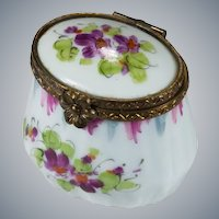 Limoges Trinket Box Signed Peint Main Hand Painted Tall Trinket Box
