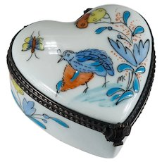 Limoges Heart Trinket Box Signed MC Hand Painted Rochard Partridge Bird Butterfly Flower Music Lyre