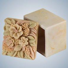 Carved Flower Sandstone Trinket Box Wales London