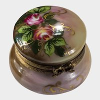 Limoges Trinket Box Roses Gold Ribbons Hand Painted Signed Rochard France