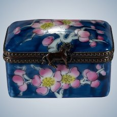Limoges France Hand Painted Signed Rochard Cherry Blossom Tree Trinket Box Horse Closure