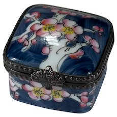 Limoges France Signed Peint Main Cherry Blossom Tree Trinket Box Flower Basket Closure