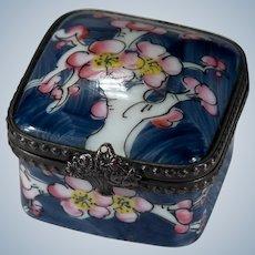 Limoges France Signed Peint Main Cherry Blossom Tree Trinket Box Flower Basket Closure