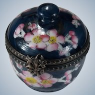 Limoges France Peint Main Signed Cherry Blossom Tree Trinket Box Clover Shamrock Closure