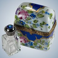 Limoges Peint Main Jeweled Double Perfume Bottle Trinket Box