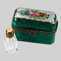 Limoges Peint Main Triple Perfume Bottle Trinket Box