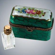 Limoges Peint Main Triple Perfume Bottle Trinket Box