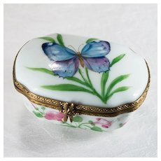 Limoges France Butterfly Flowers Dragonfly Trinket Box Hand Painted Signed Chamart
