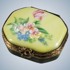 Limoges Rochard Rehousse Hand Painted Butterfly Flowers Pill Box Trinket Box
