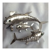 Sterling Articulated Fish, Set of Three