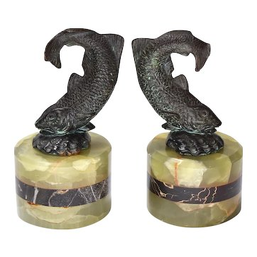 Patinated Bronze Fish Bookends, Art Deco Onyx