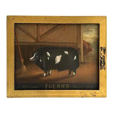 Ron Van Sweringen Naïve Style Painting, Champion Poland Hog