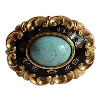 Victorian Mourning Brooch, Gold, Enamel, Turquoise