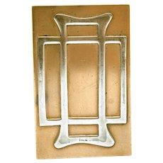 Art Nouveau Mixed Metal Matchbox Cover, Sterling on Bronze