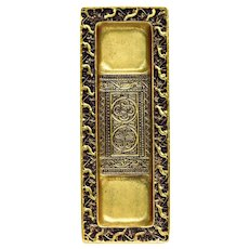 Tiffany Studios New York Venetian Pattern Pen Tray, Gilt Bronze