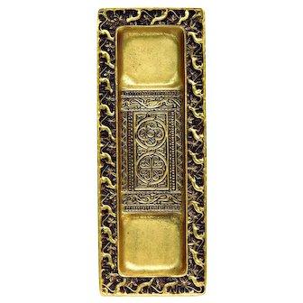 Tiffany Studios New York Venetian Pattern Pen Tray, Gilt Bronze