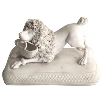 H. Chamberlain & Sons Royal Porcelain Manufacturers, Bisque Poodle