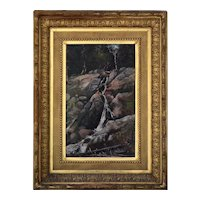 F. H. Shapleigh New Hampshire Oil Painting, Gibbs Falls Near Crawford House 1881