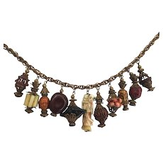 Rare Miriam Haskell Dangle Necklace with Carved Beads and Chinese Charms