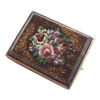 Victorian Italian 14K Micromosiac Floral Brooch/Pin