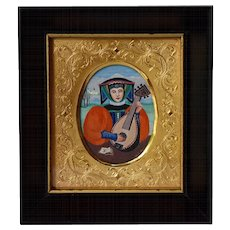 20th Century Miniature Portrait of Medieval Lady Playing Lute