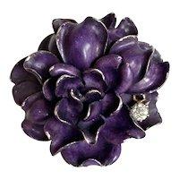Art Nouveau D. de W. Brokaw 14K Enamel with Diamond Cabbage Rose Flower Brooch Pendant Pin