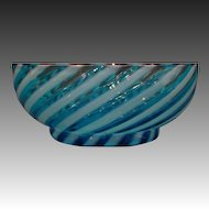 Victorian blue opalescent siwrl glass bowl