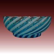 Victorian blue opalescent siwrl glass bowl