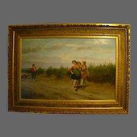 Pietro Gabrini antique Italian oil painting women in field