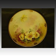 Pickard hand painted yellow floral plate Alfred Keates