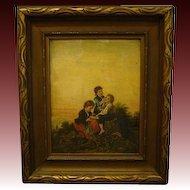 Antique oil painting children Martha Kinsman Greene Prentiss