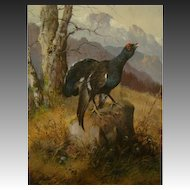 Hangenson antique German oil painting grouse on rock