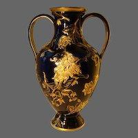 French cobalt blue porcelain Keller & Guerin Luneville huge rampant lion gilded vase