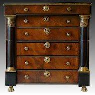 Period French Empire miniature chest tantalus set