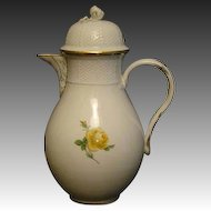 Meissen yellow rose porcelain coffee pot coffeepot crossed swords