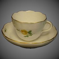 Meissen yellow rose porcelain cup and saucer