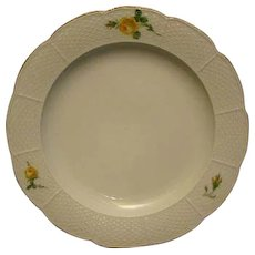 Meissen yellow rose porcelain plate crossed swords