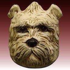 Italian pottery Schnauzer dog head cookie jar