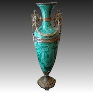 Huge tall faux malachite ormolu handled urn vase