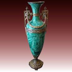 Huge tall faux malachite ormolu handled urn vase