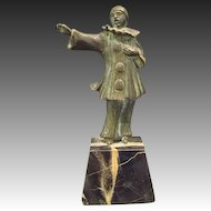 Antique bronze sculpture of clown black marble base