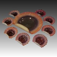 Victorian cranberry opalescent ruffled nine piece ice cream bowl set shell shaped
