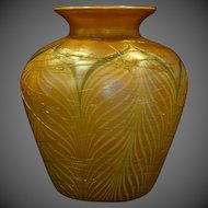 Durand huge pulled feather iridescent art glass vase signed