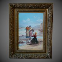 Huge French hand painted porcelain framed plaque women at sea shore signed T Vossens