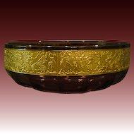 Bohemian glass amethyst glass bowl gold frieze Egyptian figures
