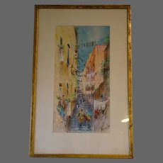 European village watercolor listed artist DeFulvis early 1900s